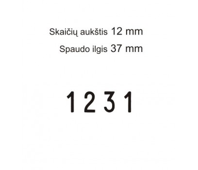 Numeratorius 15124, 12 mm,  4 skaičių