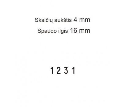 Numeratorius 1544, 4 mm, 4 skaičių
