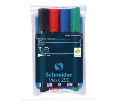 Žymeklių baltai magnetinei lentai rinkinys Schneider MAXX 290 4spalvos