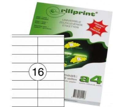 Lipnios etiketės Rillprint A4 105 x 37mm 16 lipd/lap.