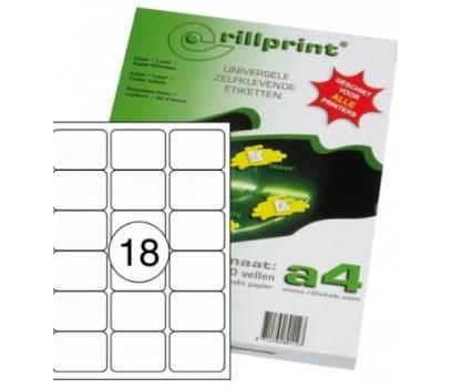 Lipnios etiketės Rillprint A4  63,5 x 46,6mm 18 lipd/lap.