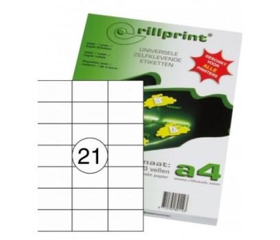Lipnios etiketės Rillprint A4  70 x 42,4mm 21 lipd/lap.