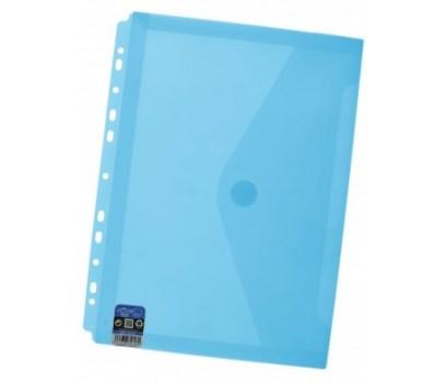 Aplankas-vokas A4+ 24x33,5cm su lipuku, europerforacija ir praplatėjimu mėlynos sp.