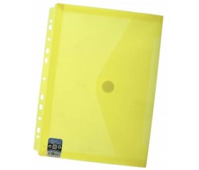 Aplankas-vokas A4+ 24x33,5cm su lipuku, europerforacija ir praplatėjimu geltonos sp.