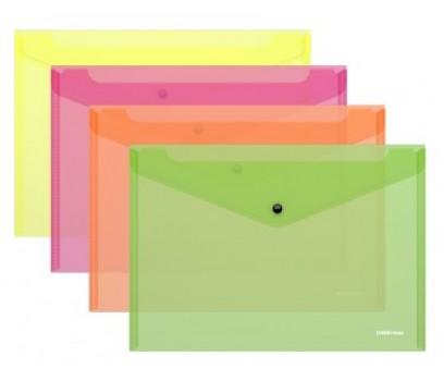 Aplankalas-vokas su spaustuku A4 ErichKrause Neon skaidrus-oranžinis