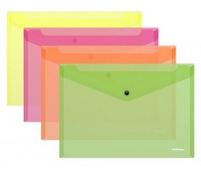 Aplankalas-vokas su spaustuku A4 ErichKrause Neon skaidrus- raudonas