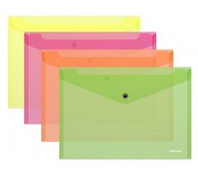 Aplankalas-vokas su spaustuku A4 ErichKrause Neon skaidrus- žalias
