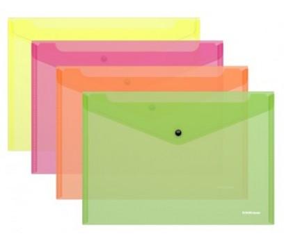Aplankalas-vokas su spaustuku A4 ErichKrause Neon skaidrus-geltonas